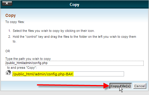 cpanel file manager copy page click copy files