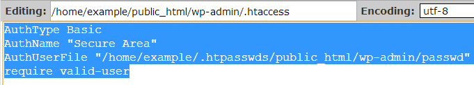 copy htaccess text