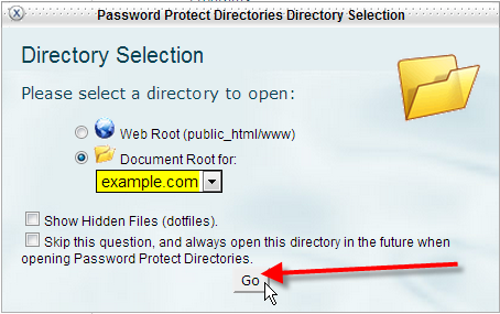 select document root click go