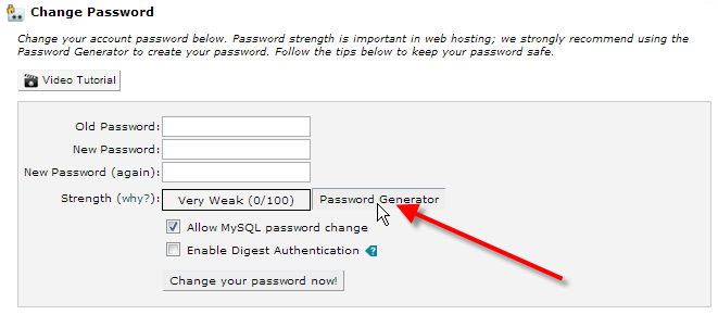 click on password generator