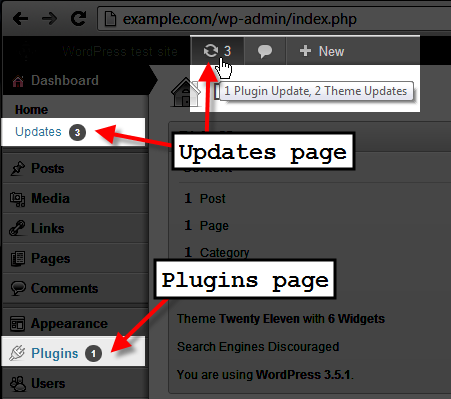 wordpress admin click on updates or plugins page