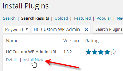 click on install now beside hc custom wp-admin url